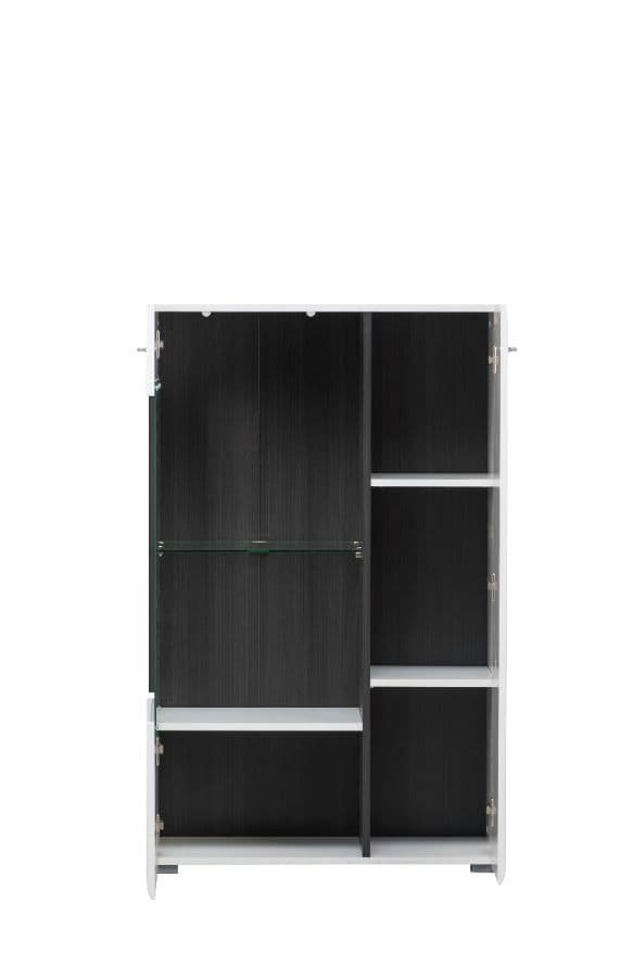Monclere White Gloss and Black  Short Display Cabinet